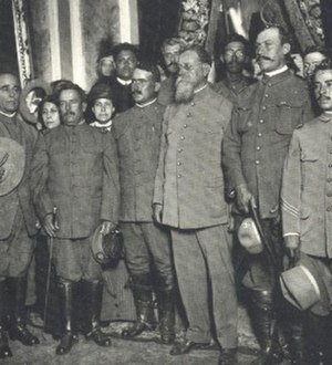 "Álvaro Obregón - Álvaro Obregón (center left) and grey-bearded ""First Chief"" of the Constitutionalists, Venustiano Carranza."