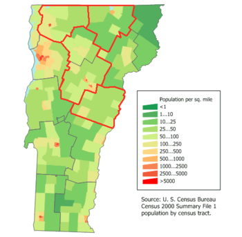 English: Vermont Pop Map