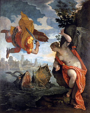 Perseus and Andromeda (Titian) - The painting by Paolo Veronese now in Rennes, 1576–78, which is similar to the Titian when reversed