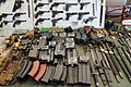 Victory Show Cosby UK 06-09-2015 WW2 reenact. Trade stalls Militaria zaphad1 CCBY2.0 Submachine gun ammo mags Beretta MG13 Thompson Walther Carabine VIG Uzi Browning AK47 PPSH43 bayonets pistols cartridges IMG 3825.jpg