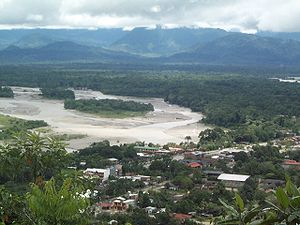Chapare River - San Matéo River and Espíritu Santo River (upper right) in Villa Tunari just before their confluence to Chapare River in the east of the town.