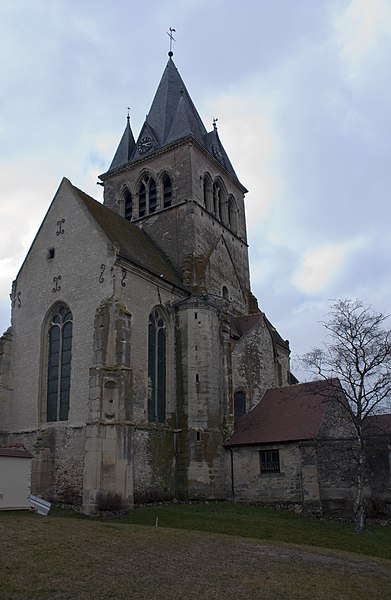 English:  Ville-Dommange city, the church down.