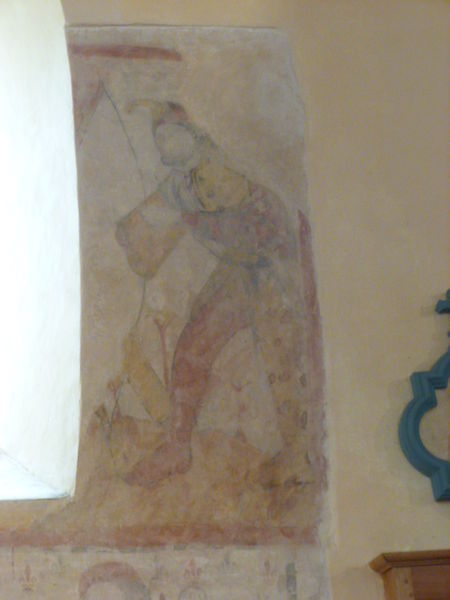 Villiers-Saint-Benoît, Puisaye, Yonne, Burgundy, France. Saint-Benoit church. Fresco representing an archer, on the south wall of the nave.