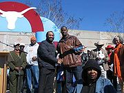 Vince Young along with Congressman Al Green at the Vince Young Parade in Houston on February 11, 2006