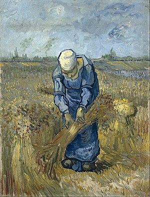 Wheat Fields (Van Gogh series) - Vincent van Gogh - Peasant woman binding sheaves (after Millet)