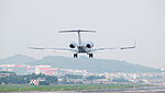 VistaJet Bombardier Global 6000 9H-IGH on Final Approach at Taipei Songshan Airport 20150427d.jpg