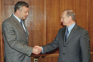 Alexander Lebedev - Lebedev with President of Russia Vladimir Putin on 7 May 2002
