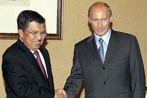 Jusuf Kalla - Jusuf Kalla with Russian President (then Prime Minister), Vladimir Putin