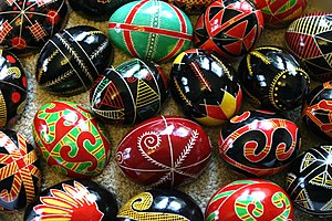 A collection of traditional pysanky from Volyn...