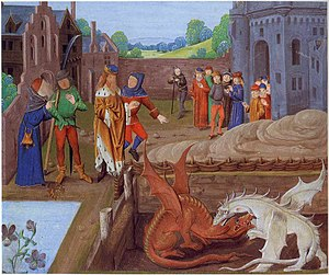 Welsh Dragon - Vortigern and Ambros watch the fight between the red and white dragons: an illustration from a 15th-century manuscript of Geoffrey of Monmouth's History of the Kings of Britain.