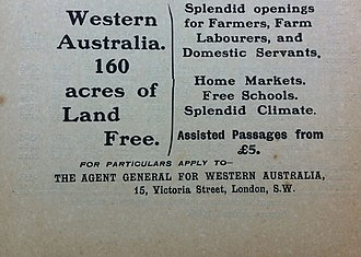 Agent-general - 1910 Advertisement from WA Agent General