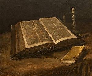 Nederlands: Stilleven met bijbel Vincent van G...