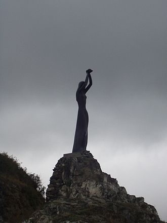 Akdamar Island - A statue of princess Tamara waiting for her love, near Sevan Lake, Armenia. The author is Armenian-American sculptor Rafael Petrosyan.
