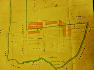Edward Thomas Wakefield - E T Wakefield's plan for his land at Askam.  Houses shaded red were sold before the case.  From evidence in Wakefield v Buccleuch, BDBUC 47/3 at CRO, Barrow