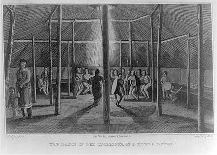 Samuel Seymour's 1819 illustration of a Kansa lodge and dance is the oldest drawing known to be done in Kansas. War dance in the interiour of a Konza lodge.jpg
