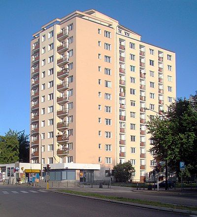 A typical socialist apartment building in Warsaw representing the style of functionalism, built due to the ever-growing population and high birth rate at the time Warsaw 54 Twarda Street 2010.jpg