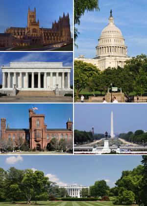 Im Uhrzeigersinn von oben rechts: das Kapitol, das Washington Monument, das Weiße Haus, das Smithsonian Institution Building, das Lincoln Memorial und die Washington National Cathedral am Abend