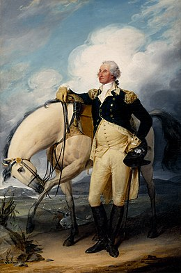 American General George Washington stands in front of a white horse, with the North or Hudson River in the background.