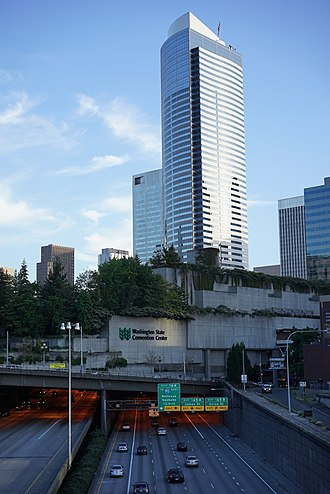 Washington State Convention Center - The convention center is built over the Interstate 5 highway.
