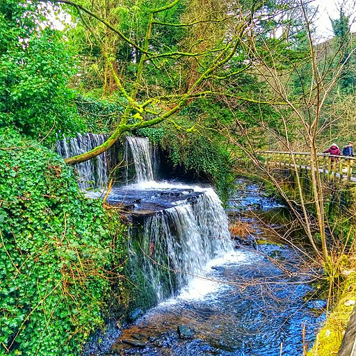 Waterfall in to River Behind Skipton Castle - panoramio