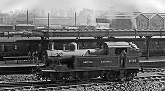 LMS Stanier Class 2 0-4-4T - Push-pull fitted 41909 at Watford Junction in October 1948