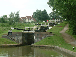The 4-lock staircase, part of Watford Locks on the Grand Union Canal