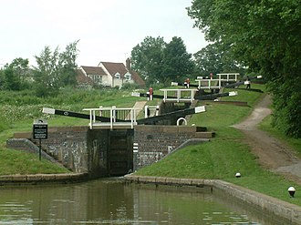 Watford Locks - The 4-lock staircase, part of Watford Locks on the Grand Union Canal