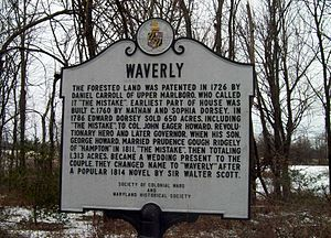 Waverly (Marriottsville, Maryland) - Image: Waverly Historic Marker Marriottsville MD Jan 11