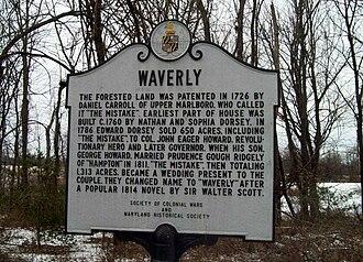 Waverly (Marriottsville, Maryland) - Image: Waverly Historic Marker Marriottsville MD Jan 11