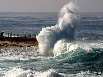 Sea - A wave hitting a breakwater in the Gulf of Santa Catalina.