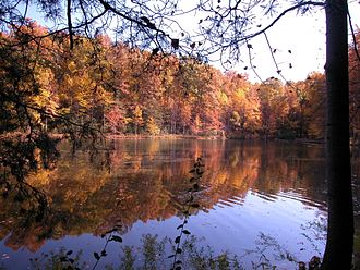 Germantown, Maryland - Seneca Creek State Park's Clopper Lake in October 2002.