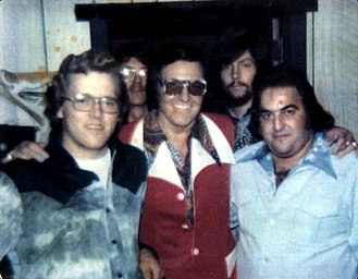 Webb Pierce - Webb Pierce (East Coast Tour - w/ Jerry Galloway) back stage at the Cedarwood Log Cabin - Southern New Jersey ... probably Fall 1974