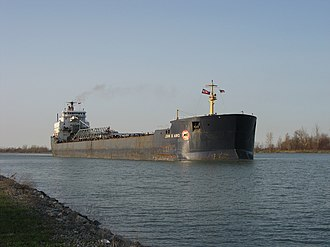 Lake freighter - MV John B. Aird, a Laker (1983) with a single aft superstructure.