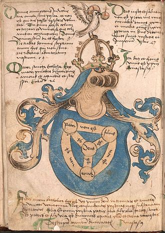 """Shield of the Trinity - A full """"coat of arms of God"""" in the Wernigerode Armorial (Southern Germany, c. 1490), with blue shield color, instead of the red used for the coat of arms of God in England."""