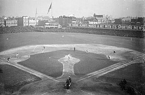 "Baseball rules - 1906 World Series, infielders playing ""in"" for the expected bunt and the possible play at the plate with the bases loaded, the same strategy 100 years ago as now."