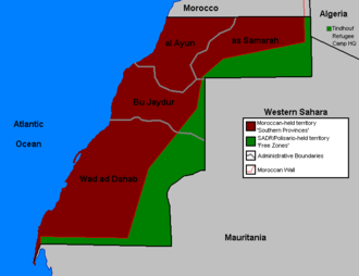 Polisario-held territory (in green) east of the Moroccan Wall Western Sahara Map.png