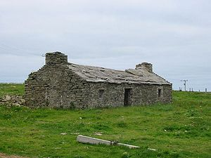 Flagstone - House on Westray, Orkney, with flagstone roof