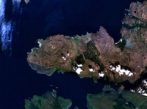 Paleocene–Eocene Thermal Maximum - Satellite photo of Ardnamurchan – with clearly visible circular shape, which is the 'plumbings of an ancient volcano'