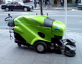 Applied arts - This street-sweeping machine appears to have been streamlined for purely aesthetic purposes, since it moves only at the walking pace of the operator.