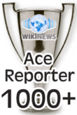 This award is presented to Wikinews reporters upon their 1000th published news article.