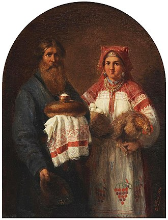 "Bread and salt - Old Painting by Wilhelm Amandus Beer ""Russian Well-Wishers"" portrays the Russian tradition of bread and salt, 1874"