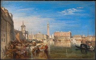Le pont des soupirs, le palais des doges et la douane, Venise. Canaletto peignant