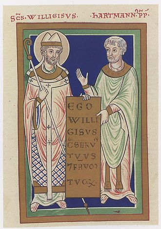 Willigis - Saint Willigis and Provost Hartmann, 12th century depiction, Russian State Library