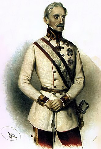 Battle of Kápolna - Alfred I, Prince of Windisch-Grätz, captain of the Austrian army. During the Winter Campaign,  Joseph Kriehuber's litrograph (1852)