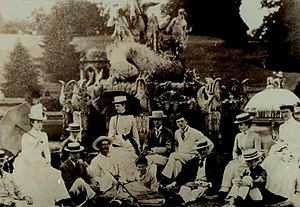 Thomas Thynne, 5th Marquess of Bath - A house party Party at Witley Court in the late 1880s. The 5th Marquess of Bath is seated 5th from right and next to him is Violet Mordaunt (daughter of Harriet Mordaunt whom he married in 1890