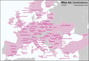 wizz air térkép A Wizz Air úti céljai – Wikipédia