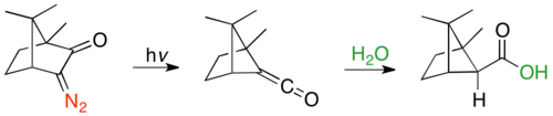 Ring contraction of α-diazocamphor via Wolff-rearrangement, followed by hydration from more sterically accessible endo face.