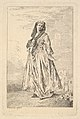 Woman walking and holding her skirt with her right hand, shown in three-quarters view with head turned toward the viewer, from the series 'Figures of fashion' (Figures de modes) MET DP829187.jpg