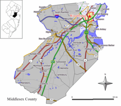Map of Woodbridge CDP in Middlesex County. Inset: Location of Middlesex County in New Jersey.