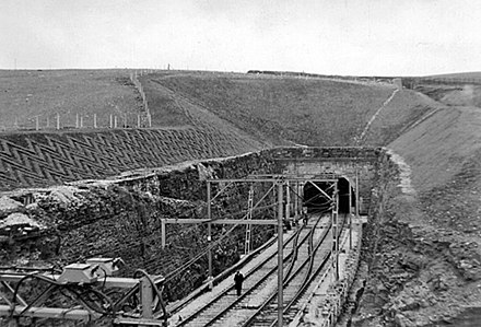 The eastern portal of Woodhead 3 shortly before opening in 1954 Woodhead New Tunnel 1735891.jpg